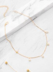 Faux Pearl Embellished Chain Necklace