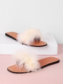 Faux Fur Embellished Flat Sandals