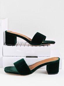 Velvet Block Heeled Sandals