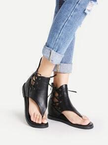 Sandales en PU à lacets croisé