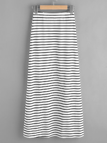 Elastic Waist Striped Jersey Skirt