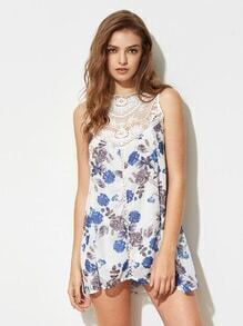 Floral Print Contrast Crochet Lace Keyhole Back Dress