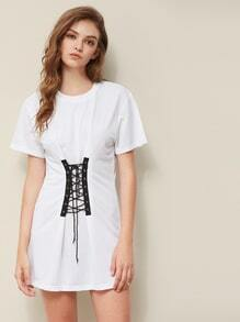 Eyelet Lace Up Front Tee Dress