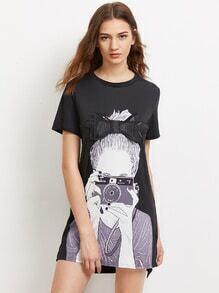 Robe trapèze imprimée d'une fille avec nœud papillon