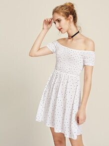Bardot Polka Dot Print Smock Dress