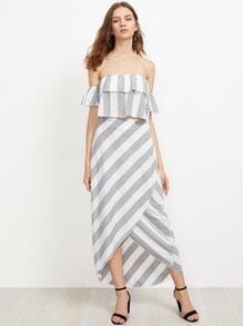 Flounce Layered Neckline Striped Crop Top With Wrap Skirt