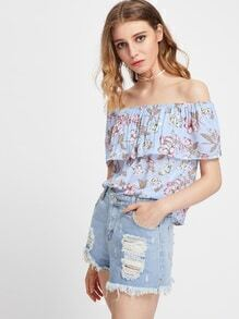 Flounce Layered Neckline Floral Print Blouse