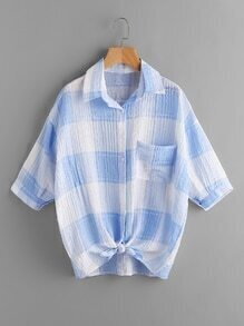 Gingham Print Knot Front Shirt With Chest Pocket