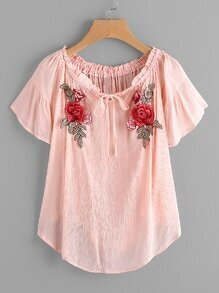 Flute Sleeve Rose Applique Tie Neck Pleated Blouse