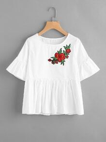 Flute Sleeve Floral Embroidered Patch Frill Hem Blouse