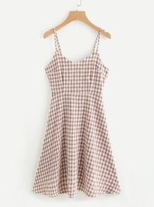 Checked Self Tie Open Back Flare Cami Dress