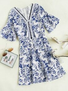 Fluted Sleeve Floral Print Random Lace Up Dress