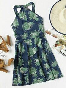Leaf Print Random Zip Back A Line Dress