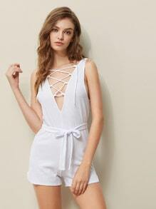 Double V-neckline Lace Up Ribbed Belt Romper
