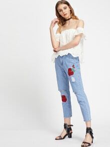 Floral Embroidered Distress Raw Hem Crop Jeans