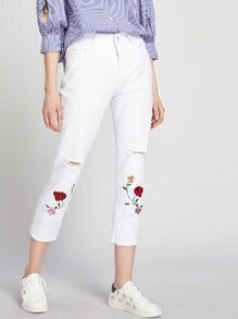 Floral Embroidered Destroy Fray Hem Crop Jeans