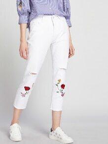 Floral Embroidered Destroy Fray Hem Crop Jeans