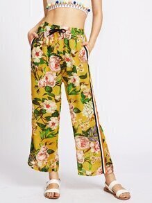 Floral Print Side Stripe Drawstring Chiffon Pants