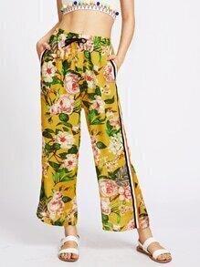 Floral Print Side Stripe Drawstring Chiffon Pants