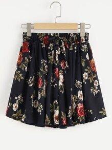 Shorts imprimé floral avec cordon de taille