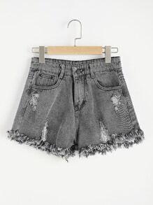 Shorts en jeans avec pan déchiré