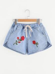 Floral Embroidered Dolphin Hem Drawstring Denim Shorts