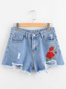 Floral Embroidered Distress Fray Hem Denim Shorts