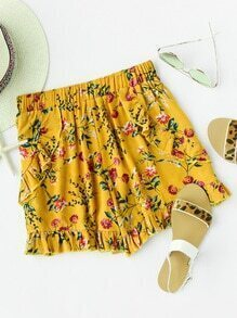 Ditsy Print Random Frill Trim Pleated Shorts