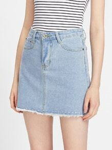 Fray Hem Denim A Line Skirt