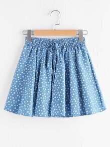 Star Print Drawstring Waist Chambray Skirt