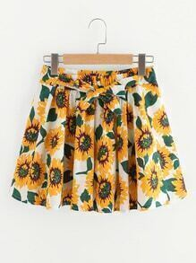 Sunflower Print Self Tie Waist A Line Skirt