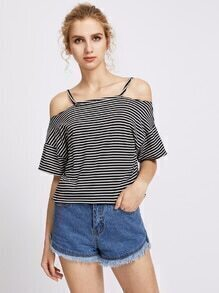 Open Shoulder Stripe Tee
