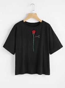 Rose Embroidered Ripped Tee