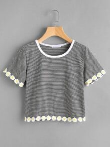 Pinstripe Flower Lace Trim Ringer Tee