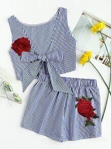 Rose Embroidered Patch Stripe Bow Tie Top With Shorts