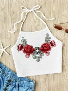 Halter Neck Rose Embroidered Applique Ribbed Top