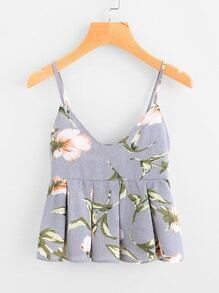 Floral Print Random Box Pleat Babydoll Cami Top