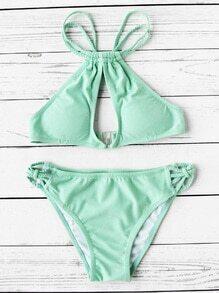 Braided Strap Keyhole Bikini Set