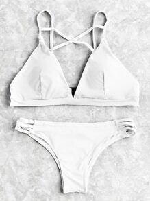Crisscross Ladder Cutout Bikini Set
