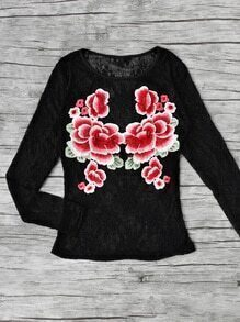 Flower Applique Mesh Blouse