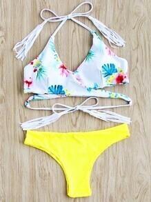 Calico Print Tassel Tie Wrap Bikini Set