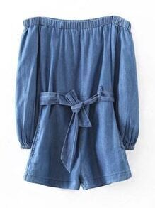 Boat Neckline Denim Playsuit With Self Tie