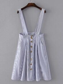 Pinstripe Overall Dress With Buttons