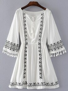 Bell Sleeve Embroidery Dress With Fringe