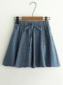 Elastic Waist Vertical Striped Skirt Shorts