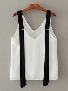 Contrast Strap Double V Neck Top