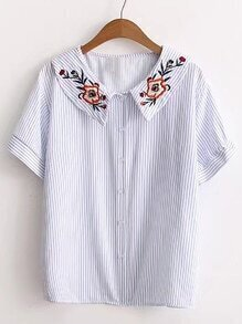 Vertical Striped Flower Embroidery Blouse