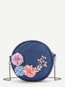 Applique And Faux Pearl Design Quilted Denim Bag