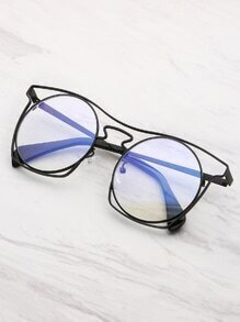 Hollow Frame Round Lens Sunglasses