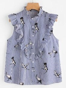 Cranes Print Frill Embellished Striped Sleeveless Blouse